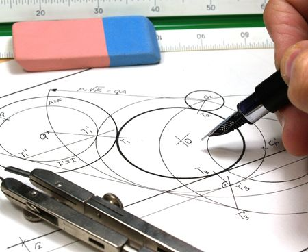 bluelines: tech draw        Stock Photo