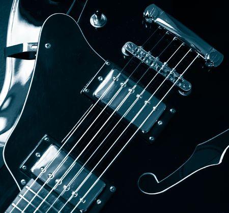 guitare jazz Vintage détail monochrome bleu