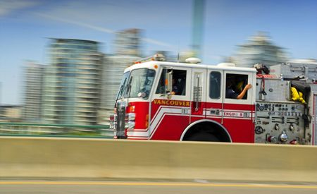 fire truck in movement photo