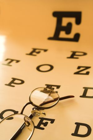 optometrist eye test chart orange photo