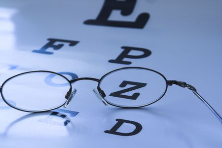 optometrist eye test chart blue Stock Photo - 408682