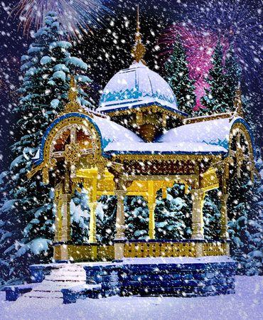 tuinhuis: Snowy Oude Summer-Huis op Sumy, Oekraïne