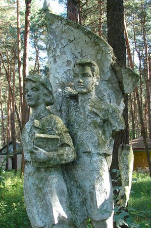 pioneers: Soviet Pioneers Statue in Abandoned Forest Camp