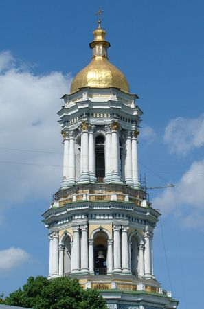 street creed: Bell tower of Sofiysky orthodox cathedral in Kiev, Ukraine
