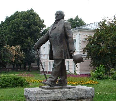 sumy: Monument of russian actor Schepkin in Sumy Ukraine