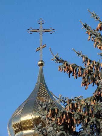 furtree: Orthodox Churchs Holy Cross upon cupola Upon Fur-Tree