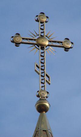 minster: Orthodox Churchs Holy Cross upon cupola 016 Stock Photo