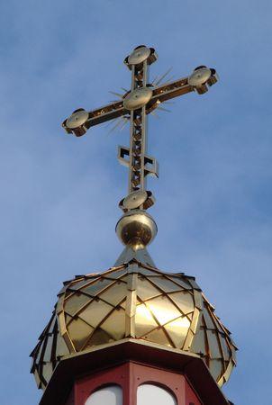 minster: Orthodox Churchs Holy Cross upon cupola 017 Stock Photo