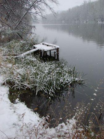 sumy: First season�s snowfall on Ukrainian River Psyol in Sumy Stock Photo