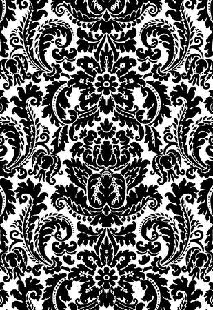 bw: Floral b&w background illustration Stock Photo
