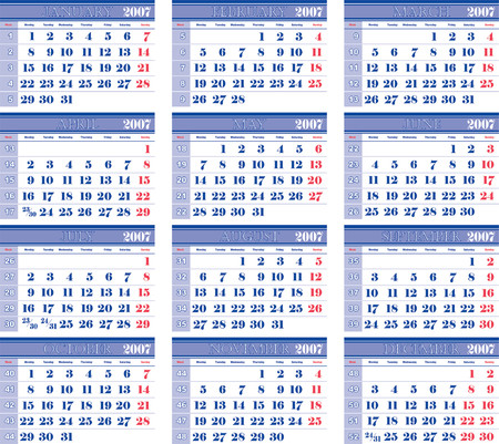 monthly: 2007 wall pantone bicolor vector monthly calendar 01