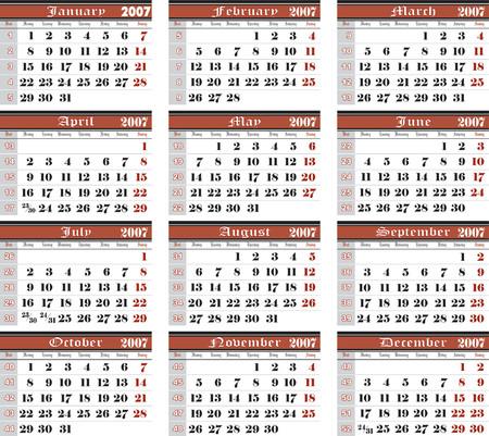 scalar: 2007 wall pantone bicolor vector calendar 02