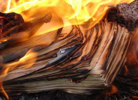 obliteration: Flame of burning paper sheet stack 03