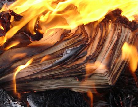 obliteration: Flame of burning paper sheet stack 04