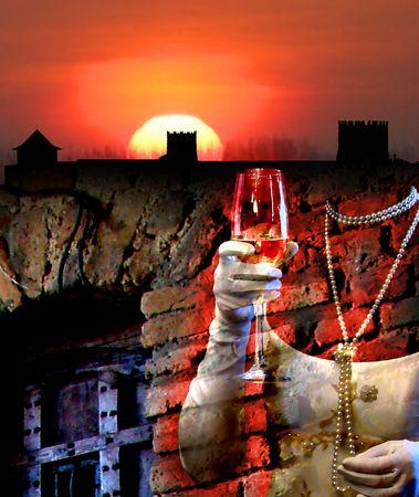 gory: Fantasma sanguinante dello stronghold antico Archivio Fotografico