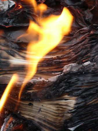 obliteration: Flame of burning paper sheet stack 14 Stock Photo