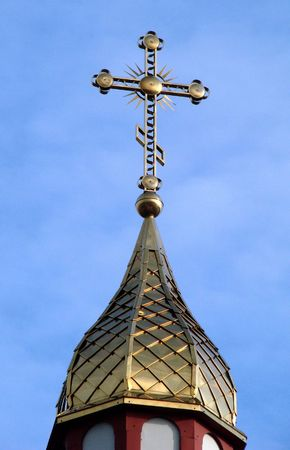 minster: Orthodox Churchs Cupola with Holy Cross upon blue sky