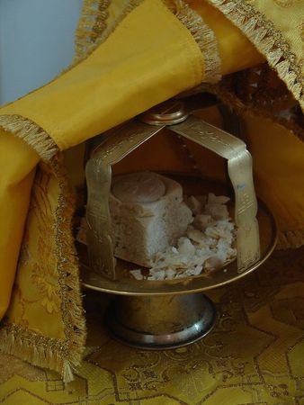 Sacred Participle objects on altar of slavic orthodox church