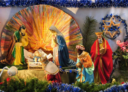 christmas scene with biblical statues photo