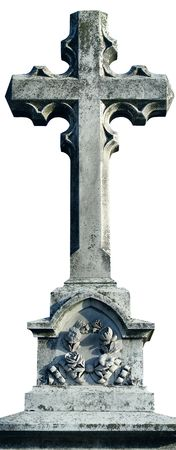 minster: Ancient marble Christian Holy cross in old cemetery Stock Photo