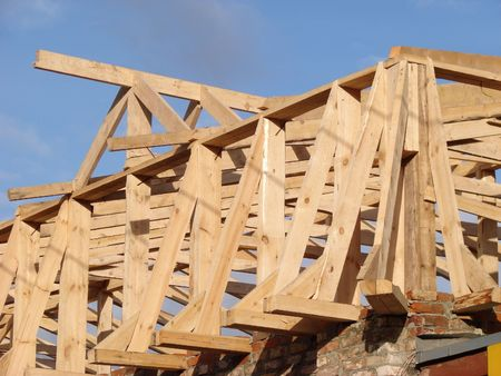 Construction of new wooden Rafters Stock Photo - 731721