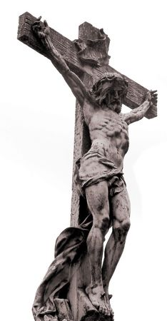 Ancient marble statue of crucified Jesus Christ photo