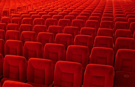 Group of many red seats in public hall Stock Photo