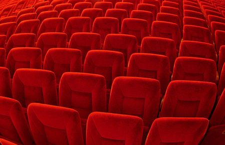truthful: Group of many red seats in public hall Stock Photo