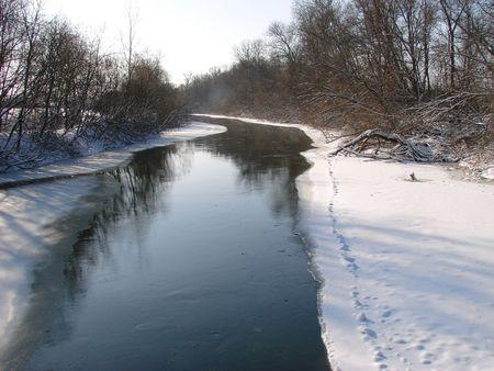 Winter snowy morning riverside photo