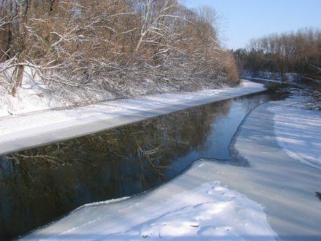 Winter snowy morning riverside Stock Photo - 736808