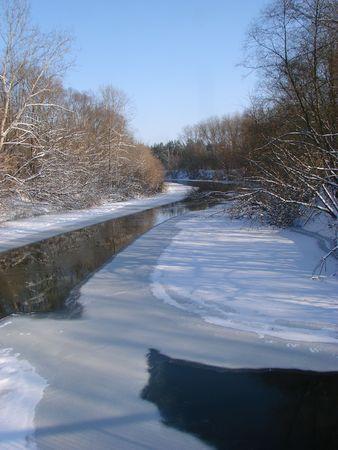 Winter snowy morning riverside Stock Photo - 736806