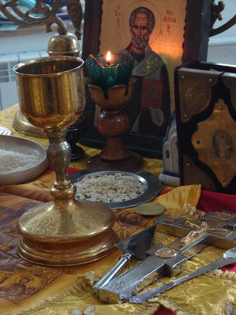 Sacred Participle objects on altar of slavic orthodox church Stock Photo - 751072