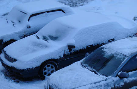 Snowed cars after night snowfall Stock Photo - 751056
