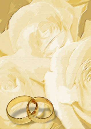 Yellow wedding greeting blank with two rings or bands photo