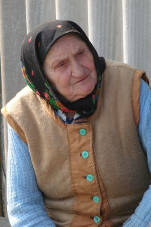 kaput: Old Ukrainian country sad granny portrait Stock Photo