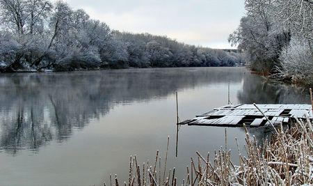 Spring snowy morning riverside 03 Stock Photo