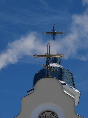 Church Crosses inside white cloud on blue sky background 06 photo