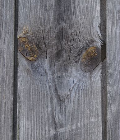 openair: Two knots on textured wooden plank like alien face