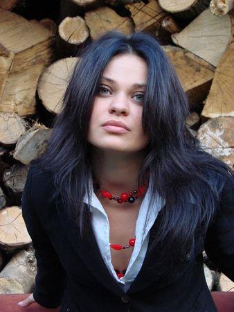 Beauty brunette girl model face portrait Stock Photo - 884848