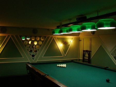 Pool table with white balls on green table Stock Photo - 1051241