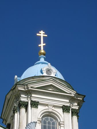 Blue cupolas of St. Trinity  Cathedral Upon deep slue sky photo