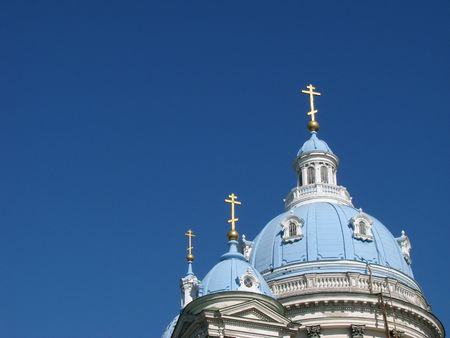 Blue cupolas of St. Trinity  Cathedral Upon deep slue sky Stock Photo - 999957