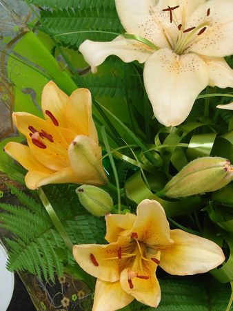 Sandy-white lilly bouquet photo