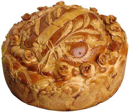 Isolated Ukrainian festive bakery Holiday Bread on white background photo