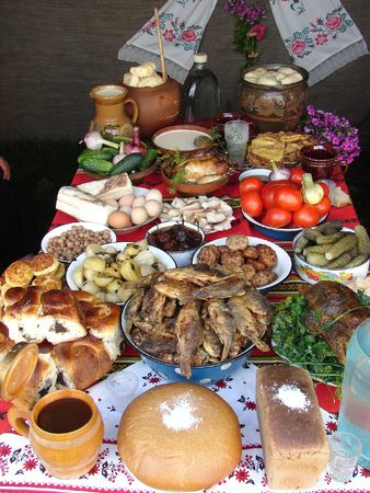 Traditional Ukrainian festive dinner meals 3 photo