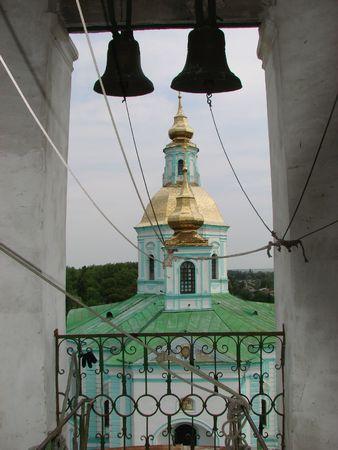 street creed: Belfry of Pokrovsky Cathedral in Akhtyrka, Ukraine