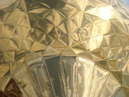 yielding: Church Cupola shining golden mirror surface Stock Photo