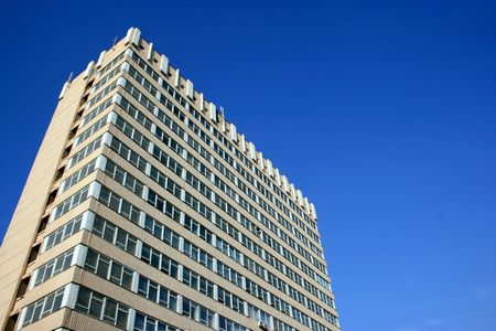 viewpoint: Blue sky over modern urban building Stock Photo