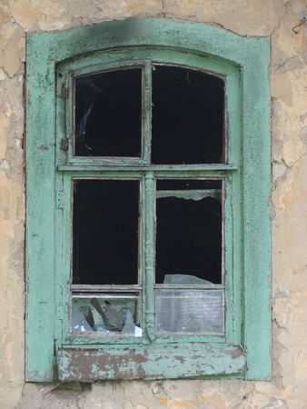 Alone aged ruined urban window photo