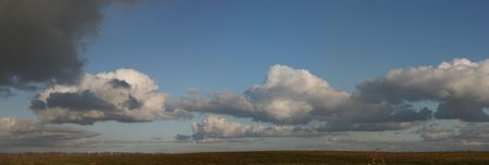 Panoramic HDR image of cloudy sky wide angle view photo